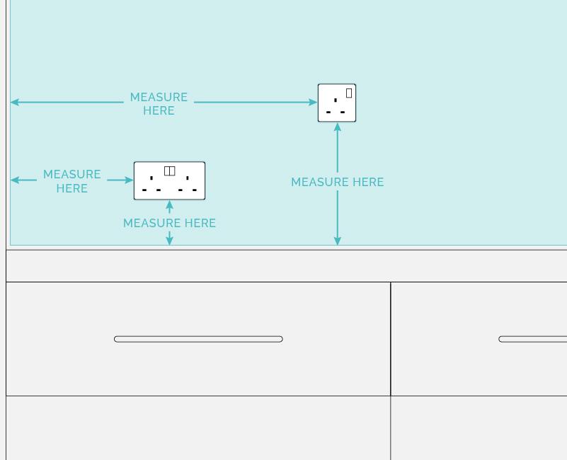measure for your kitchen splashback diagram. Socket cut out measurement.