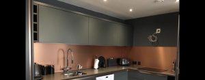 copper splashback in kitchen