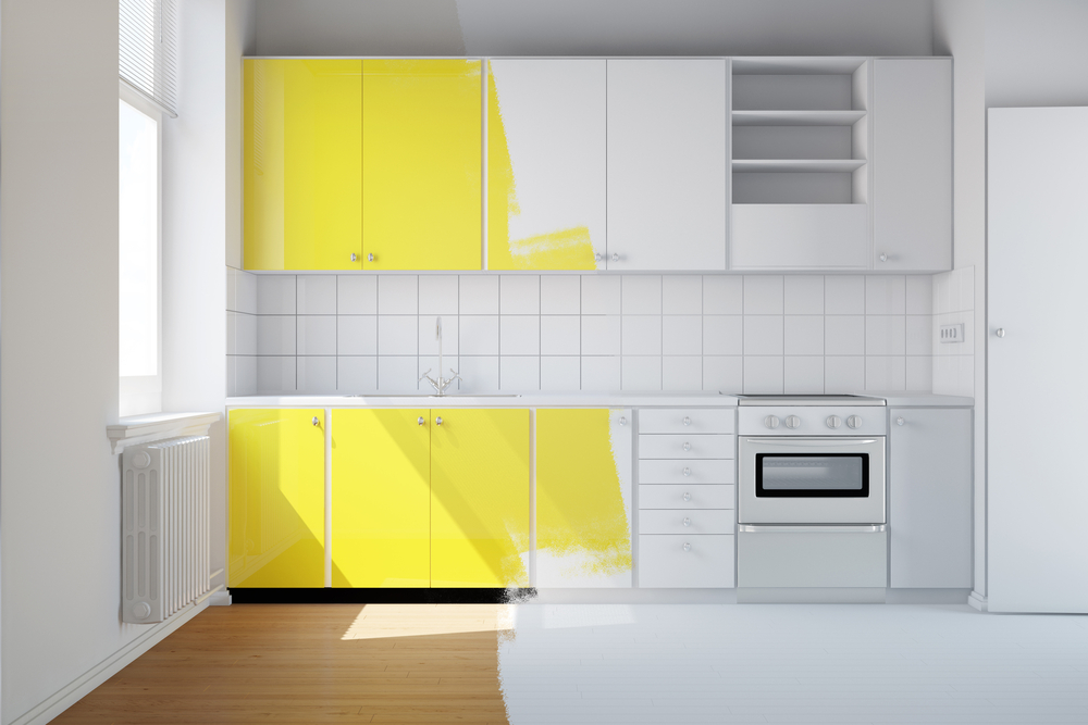 how to add character to a kitchen, half painted yellow kitchen.