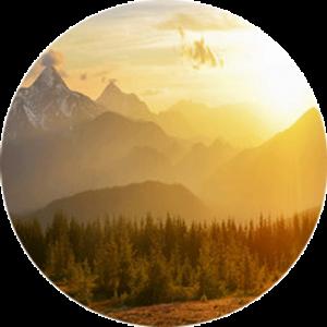 Golden Sunset Over Mountain