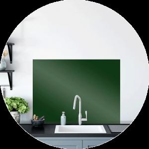 Green Fern Glass Splashback Sample