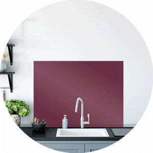Red Ruche Glass Splashback