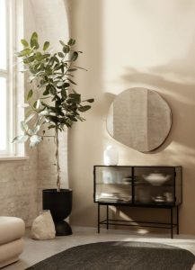 japandi style room with plant and mirror